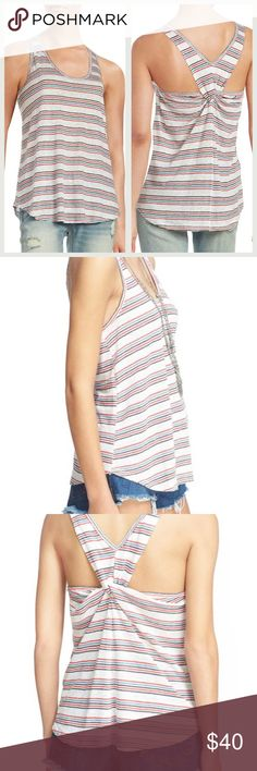 """NWOT! FREE PEOPLE 'Best Night' Stripe Tank NWOT!  FREE PEOPLE - We The Free 'Best Night' Stripe Tank  Size: SMALL  Red, white, and blue stripes playfully pattern a breezy linen scoop-neck tank styled with knotted back straps. - Approx. 24"""" long, 17"""" from underarm to underarm - Scoop neck - 100% linen  *NOTE: This tank has a """"worn"""" raw-hem look. It has never been worn but the hems have some fraying due to the style of the top. This is exactly how it was when I purchased it! **GREAT FOR 4th OF…"""