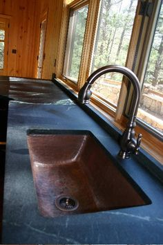 soapstone counter top with copper sink