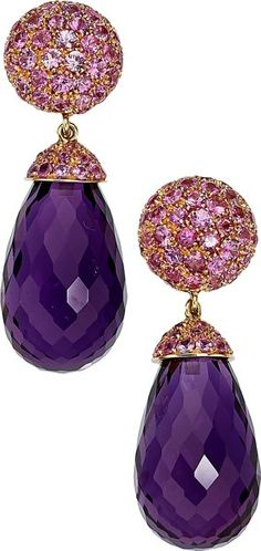 Estate Jewelry:Earrings, Amethyst, Pink Sapphire, Gold Earrings. ... (Total: 2 Items)