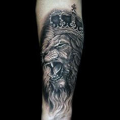 Unique Heavily Shaded Tattoo Of Lion With Crown On Male