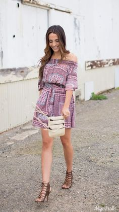 Go off-the-shoulder with a printed boho dress. Just add a neutral bag with fringe detailing and strappy, lace-up stilettos.