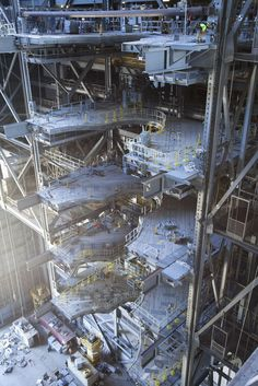 A view of the south side of High Bay 3 inside the Vehicle Assembly Building at NASA's Kennedy Space Center in Florida. Five levels of new work platforms for NASA's Space…