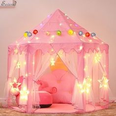 Princess Castle Play Tent for Girls with LED Star String Lights 3 Pack (Kids - 3 - Assembly Required), Pink Unicorn Rooms, Unicorn Bedroom, Princess Bedrooms, Princess Room Decor, Pink Princess Room, Princess Room Ideas For Girls, Disney Princess Room, Girl Bedrooms, Pink Bedroom Decor