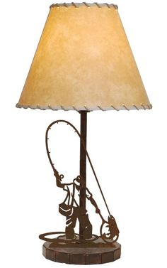 man fly fishing fly fisherman metal table lamp rustic cabin lodge decor lighting american made