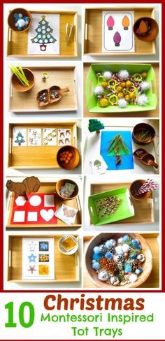 I find some of these to have a little too much work in them but over all great ideas! These Christmas Montessori inspired tot trays include easy to put together activities and tons of free printables. Also, included are simple tot ornaments. Montessori Trays, Montessori Preschool, Montessori Education, Montessori Materials, Toddler Preschool, Preschool Activities, Montessori Bedroom, Baby Education, Preschool Schedule