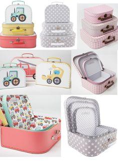 Brand New Set of 3 Boys / Girls Storage Suitcase Set Truck Car Flower Star