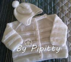 Este é um modelinho clássico de casaquinho de bebê. Trabalhei com lã Baby e lã Super Bebê. Usei agulha 3,5. A receita básica está em ... Baby Knitting Patterns, Baby Love, Knit Crochet, Knitted Baby, Diy And Crafts, Sweaters, Jackets, Pasta, Fashion