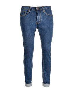 Mid Blue Wash Stretch Skinny Jeans - Men's Jeans  - Clothing