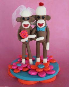 Custom 4 inch Sock Monkey Wedding Cake Topper in by SpiritMama, $110.00