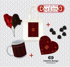 Dia das Mães - Customized For You  Coletivo Design - Ecobag Personalizada + Caneca Personalizada + Mousepad Personalizado + 2 Pirulitos de Chocolate + 6 Bombons