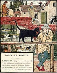 First illustration, on page of Puss in Boots in the book The Marquis of Carabas' Picture Book by Walter Crane/printed in colours by Edmund Evans (London: George Routledge and Sons, n. - Walter Crane, Edmund Evans, George Routledge and Sons Walter Crane, Cinderella Pictures, Nursery Wallpaper, Fairytale Art, Arts And Crafts Movement, Children's Book Illustration, Book Illustrations, Cat Art, Fairy Tales