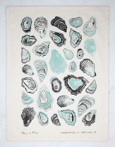 Oyster Tea Towel - Mint