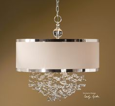 Uttermost // Fascination Falling Crystals 3 Light Hanging Shade Chandelier