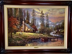 Thomas Kinkade A Peaceful Retreat. Thoreau lived such a life on Walden Pond. I like to imagine living in just such splendid isolation in a setting of my own choice in a secluded A Peaceful Retreat. © The Thomas Kinkade Estate. Canvas Artwork, Canvas Frame, Cool Artwork, Amazing Artwork, Canvas Paintings, Thomas Kinkade Art, Landscape Quilts, Sand Art, This Is Us Quotes