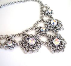 Chainmaille bib necklace with Swarovski by ArtfulTrinkets1 on Etsy