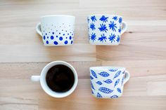 life on curry: #DIY: Maľované šálky / Painted mugs