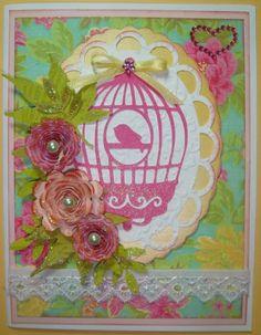 Cricut Card. Flower Shoppe, Elegant Edges and Straight From The Nest Cartridges.  *