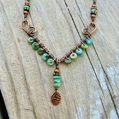 .collar en celeste, con cadena bronce