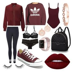 """Burgundy Body"" by xlivtieyx on Polyvore featuring Miss Selfridge, adidas, Ballet Beautiful, Topshop, Converse, La Perla, Hollister Co., Bronzallure, Lime Crime and tarte"