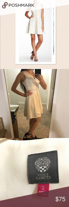 White Front Zipper Dress Lovely white dress with v neckline and full length zipper. Vince Camuto Dresses