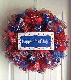4th of July Wreath, July 4th Wreath, Happy Fourth Wreath, Happy 4th of July, Patriotic Wreath, July Fourth, July 4th Decor, Patriotic Decor by CharmingBarnBoutique on Etsy