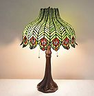 """For Sale - 18""""W Peacock Stained Glass Tiffany Style Jeweled Table Desk Lamp, Zinc Base"""