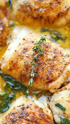 Dinner Butter Chicken - Easy crisp-tender chicken with the creamiest lemon butter sauce ever - you'll want to forget the chicken and drink the sauce instead! Pressure Cooking Recipes, Slow Cooker Recipes, Oven Recipes, Pasta Recipes, Lemon Butter Chicken, Lemon Chicken Thighs, Chicken Breasts, Lemon Butter Sauce, Boneless Skinless Chicken Thighs