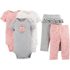 Child of Mine by Carter's Newborn Baby Girl Bodysuit and Pants 5-Piece Set 14.48