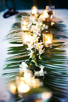 Image result for palm leaf white tablecloth wedding
