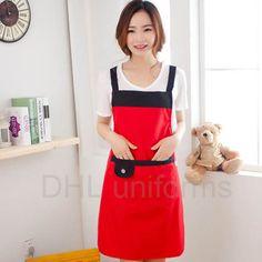Mẫu tạp dề đỏ với viền phối màu đen cực đẹp và dễ thương dành cho các bạn nữ. DHL Uniforms nhận may tạp dề theo mẫu với giá thành rẻ, chất lượng