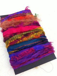 Sari silk ribbon, eyelash multicoloured, silk sari ribbon for arts and crafts and jewelry making and other textiles. Craft ribbon.