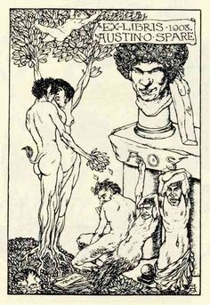 Austin Osman Spare, Apollo and Daphne embracing, a plinth with a self-portrait bust to the right, 1908.