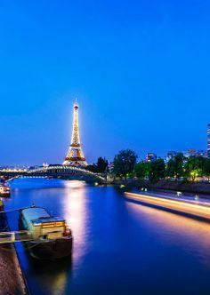 Eiffel Tower Across River Seine, Paris France