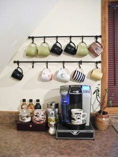 Five Sixteenths Blog: Make it Monday // Create a Cozy Home Coffee Bar - curtain rod and shower hooks for a cup holder