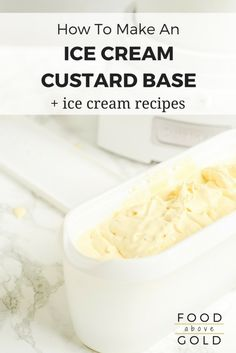 Homemade Custard Ice Cream Make the ultimate homemade frozen treat by mastering how to make a custard base for ice cream. Plus, a recipe for the best custard base for ice cream! Frozen Custard Recipes, Custard Ice Cream Recipe, Gelato Ice Cream, Vanilla Custard, Vanilla Ice Cream, Ice Cream Desserts, Frozen Desserts, Ice Cream Recipes, Desert Recipes