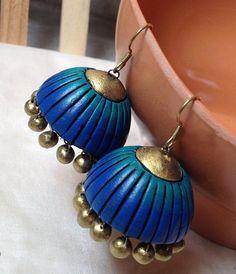 Blue dashing handmade terracotta jewellery ear ring