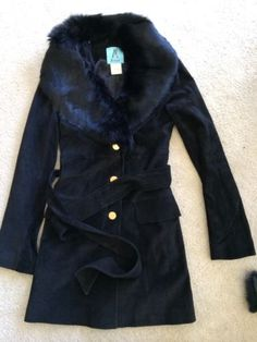 NWOT-guess-by-MARCIANO-black-Detachable-Rabbit-fur-Leather-jacket-coat-XS-500