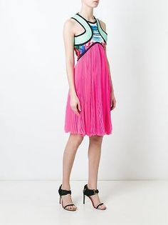 DSQUARED2 3000$ Authentic New Pleated Silk Palm Print Dress sz 36 40