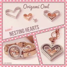 Origami Owl: 2016 Valentine's Day Collection, Nesting Hearts. www.CharmingLocketsByAline.OrigamiOwl.com