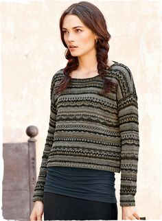 Knit in textural stripes of granite and mineral hues, our adorable cropped pullover has a boxy shape and a blanket-stitched neckline; in alpaca (52%), cotton (30%), wool (13%), silk (3%) and nylon (2%).