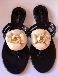 a2c4227c3 Black and Beige Camellia Rubber Sandals
