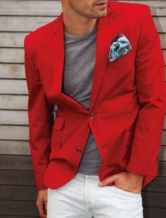 Knallrotes Baumwollsakko, schön kombiniert mit weiß und grau (ein weißes Pochette wäre noch besser)!