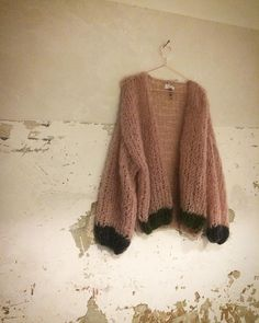 pink chunky mohair cardigan by Patkas