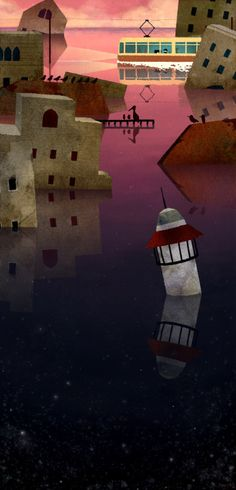 illustration of the dice, the black. The sunset on the sea of ruined village