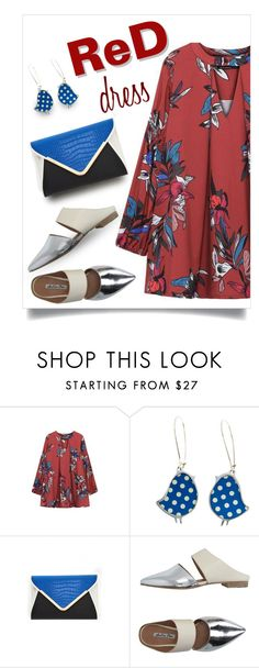 """""""red dress"""" by collagette ❤ liked on Polyvore featuring Julie Dee, women's clothing, women, female, woman, misses, juniors, affordable, reddress and yoins"""