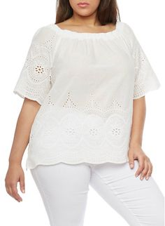 Plus Size Off the Shoulder Eyelet Peasant Top,WHITE