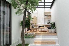 House Ngoc Thuy on Behance Unique House Design, Home Garden Design, Terrace Design, Home Room Design, Home Interior Design, Exterior Design, Interior And Exterior, Long House, Narrow House