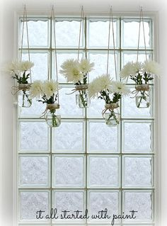 I heart Mason Jars OR 1001 Mason Jar Projects :: Anne @ DesignDreams by Anne's clipboard on Hometalk :: Hometalk Unique Window Treatments, Kitchen Window Treatments, Mason Jar Projects, Mason Jar Crafts, Pot Mason Diy, Hanging Mason Jars, Hanging Planters, Diy Hanging, Hanging Flowers