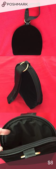 "Black Velvet Wristlet evening purse satin handles L8"" x W2.5"" x H7"", satin wristlet H8"", vintage in excellent condition Bags Clutches & Wristlets"