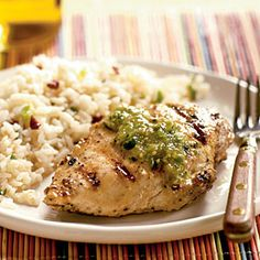 Grilled Cumin Chicken with Fresh Tomatillo Sauce Recipe | MyRecipes.com